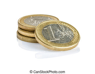 Euro coins on a white background