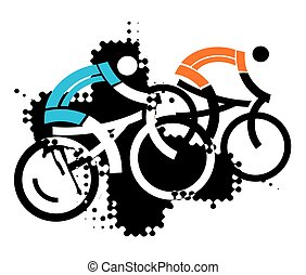 Two mountain bikers - Two stylized mountain bikers on the...