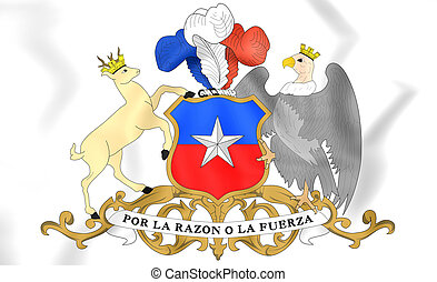Chile Coat of Arms - 3D Chile Coat of Arms. Close Up.