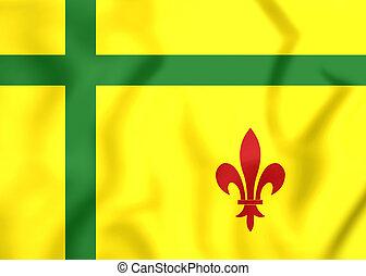 Flag of Fransaskois, Canada. - 3D Flag of Fransaskois,...