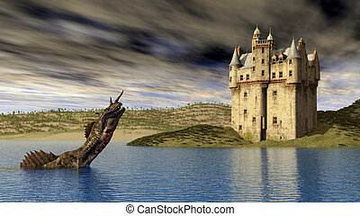 Loch Ness Monster - Computer generated 3D illustration with...