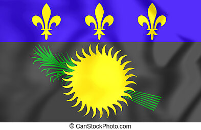 Flag of Guadeloupe - 3D Flag of the Guadeloupe. Close Up.
