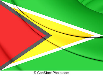 Flag of Guyana - 3D Flag of the Guyana Close Up