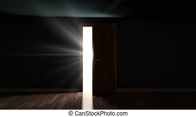 Light through opening door - Light and particles in a room...