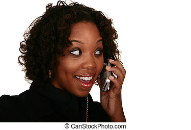 African American Girl On The Phone Smile - isolated close up...