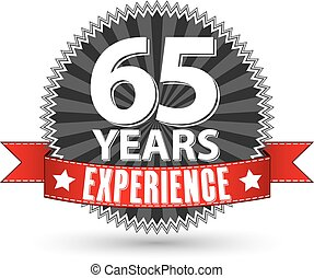 65 years experience retro label with red ribbon, vector...