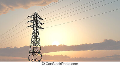 Overhead power line - Computer generated 3D illustration...