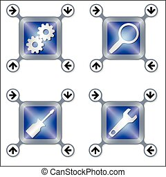 Set of four icons with silver different tools