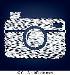 Vector icon with chalk effect - digital photo camera icon...