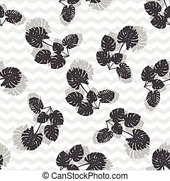 Tropical monstera leaves. silhouette drawing Seamless background.