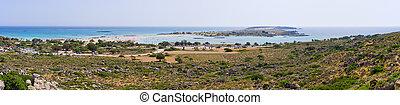 Panorama of Elafonisi beach, Crete