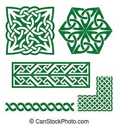 keltisch, irisch, grün, Muster, und, kno,