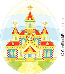 Easter egg with a church - A festively decorated church...