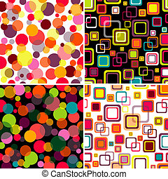 Set seamless patterns - Four seamless patterns colorful...