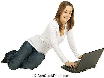 Chatting On Laptop - caucasian girl using laptop with happy...