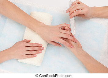 Care of nails in a beauty salon