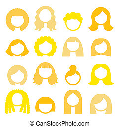 Blond hair styles, wigs icons set - - Vector icons set...