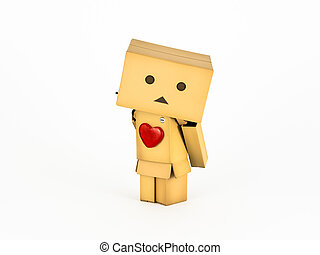 Shy Danbo wearing a heart - Shy Danbo stands in a cute pose...