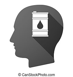 Long shadow male head icon with a barrel of oil