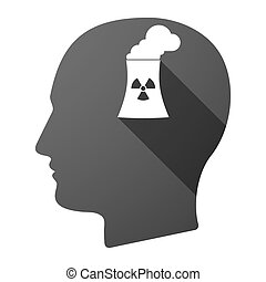 Long shadow male head icon with a nuclear power station -...