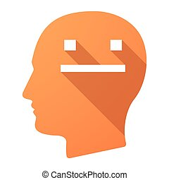 Long shadow male head icon with a emotionless text face