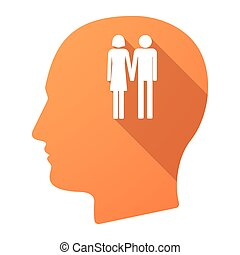 Long shadow male head icon with a heterosexual couple...