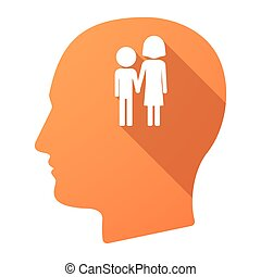 Long shadow male head icon with a childhood pictogram -...