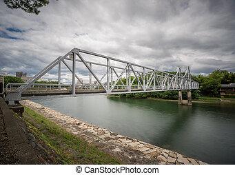 Iron bridge in Japan - Wide angle view of Iron bridge in...