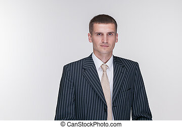 black suit man white background