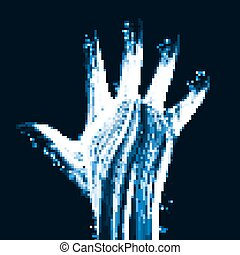 Abstract light hand, futuristic illustration