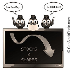 Sepia stocks and Shares - Sepia comical bird businessman...