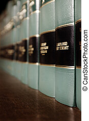 Law Book on Sales - Close up of several volumes of law books...