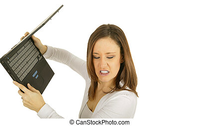 Hate Laptop - caucasian girl getting ready to throw laptop...