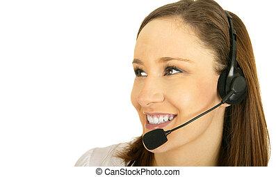 Happy Customer Representative - smiling caucasian girl...