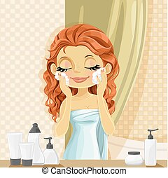 Cute brunette girl washes facial wash in the bathroom