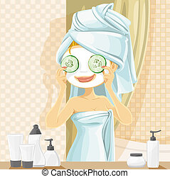 Fun girl in a cosmetic mask pack puts cucumbers on eyes in the bathroom