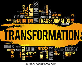 TRANSFORMATION word cloud, fitness, sport, health concept