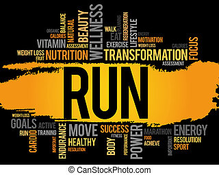 springa, moln, ord,  fitness