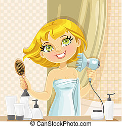 Cute blond girl dries her hair hairdryer in the bathroom