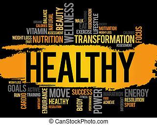 hälsosam, moln, ord,  fitness