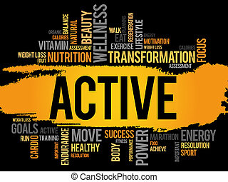 aktiv, moln, ord,  fitness
