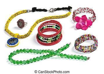 fashion jewellery isolated on the white background