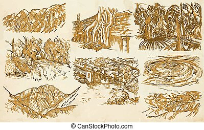 Famous places, landscapes and sceneries - vector, freehands...