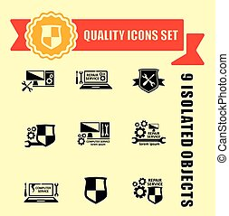 quality computer technology icons set - set of concept...