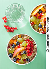 healthy breakfast quinoa with fruits berry nectarine...