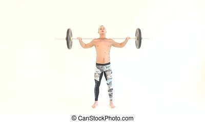 Muscular Man Lifting Weights against White Background