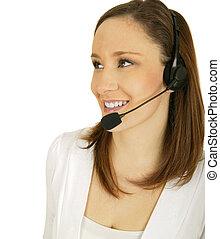 Smiling Customer Representative - happy caucasian girl...