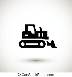 Crawler bulldozer icon isolated on grey. Vector illustration