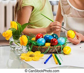 イースター, 卵, ペンキ, 手, 家, 子供