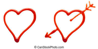 ketchup hearts isolated on a white background